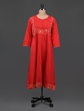 Red Cotton Kurti With Gold Printed Yoke - Bhama Couture