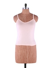 Brown Plain Solid Camisole Cotton - Fabme