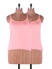 Orange Plain Solid Camisole Cotton Set Of 2 - Fabme