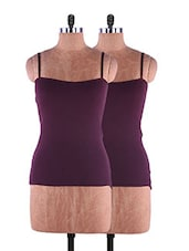Maroon Plain Solid Camisole Cotton Set Of 2 - Fabme