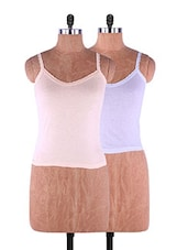 Multi Colored Plain Solid Camisole Cotton Set Of 2 - Fabme