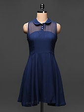 Navy Blue Sleeveless A-Line Collar Dress - Buylane