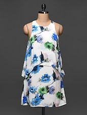 Floral Print White Sleeveless Trapeze Dress - Buylane