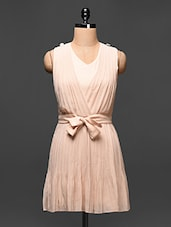 Beige Faux Wrap Pleated Sleeveless Dress - Buylane