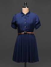 Navy Blue Gathered A-Line Shirt Dress - Buylane