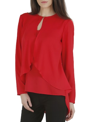 Red layered moss crepe high low top