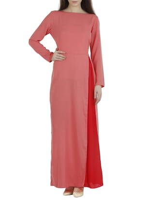 Pink boat neck moss crepe maxi dress