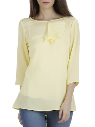 Lemon yellow moss crepe top