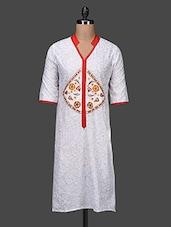 Mandarin Collar Printed White Kurta - Shilpkala