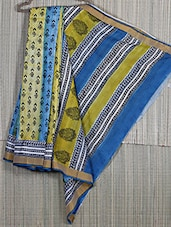 Blue And Green Printed Cotton Saree - Subho