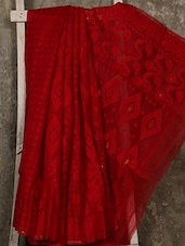 Red Cotton Silk Jamdani Saree - Creation