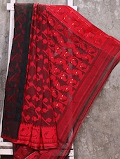 Red And Black Cotton Silk Jamdani Saree - Creation