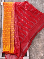 Red And Yellow Cotton Silk Jamdani Saree - Creation