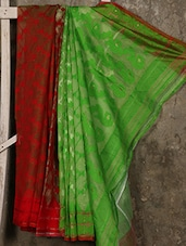 Red And Green Cotton Silk Jamdani Saree - Creation