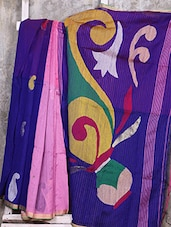 Pink And Blue Cotton Silk Saree - Creation