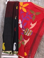 Black And Red Cotton Silk Saree - Creation