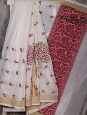 White Embroidered Handwoven Banarasi Cotton Saree - Shiva Saree