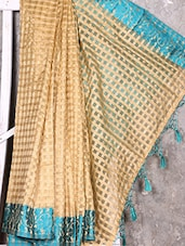 Turquoise Border Check Pattern Handwoven Saree - Shiva Saree