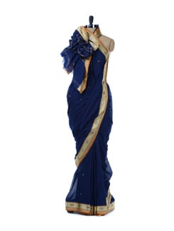 Navy Blue Saree With Gold-silver Border - Platinum Sarees