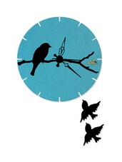 Bird Print Light Blue Wall Clock With Cutouts - Wood Pecker