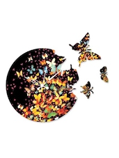 Butterfly Print Round Wall Clock With Cutouts - Wood Pecker