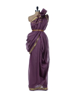 Purple And Gold Saree - Platinum Sarees