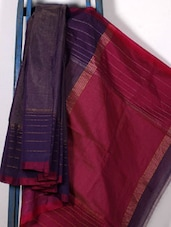 Purple Handwoven Cotton Silk Saree - NFTSSLTD