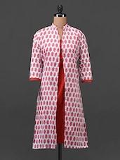 Red Printed Cotton Kurti - Tissu