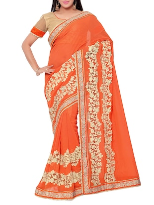 orange  georgette bordered saree