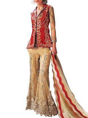 beigr and red benglori silk semistitched suit
