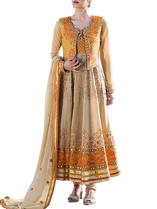 beige & yellow georgette semistitched suit