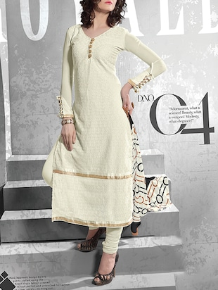 off white georgette semistitched suit