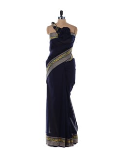 Navy Blue Cotton Saree - Platinum Sarees