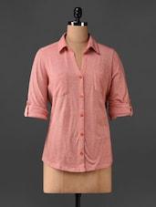 Peach Cotton Knit Shirt - CHERYMOYA