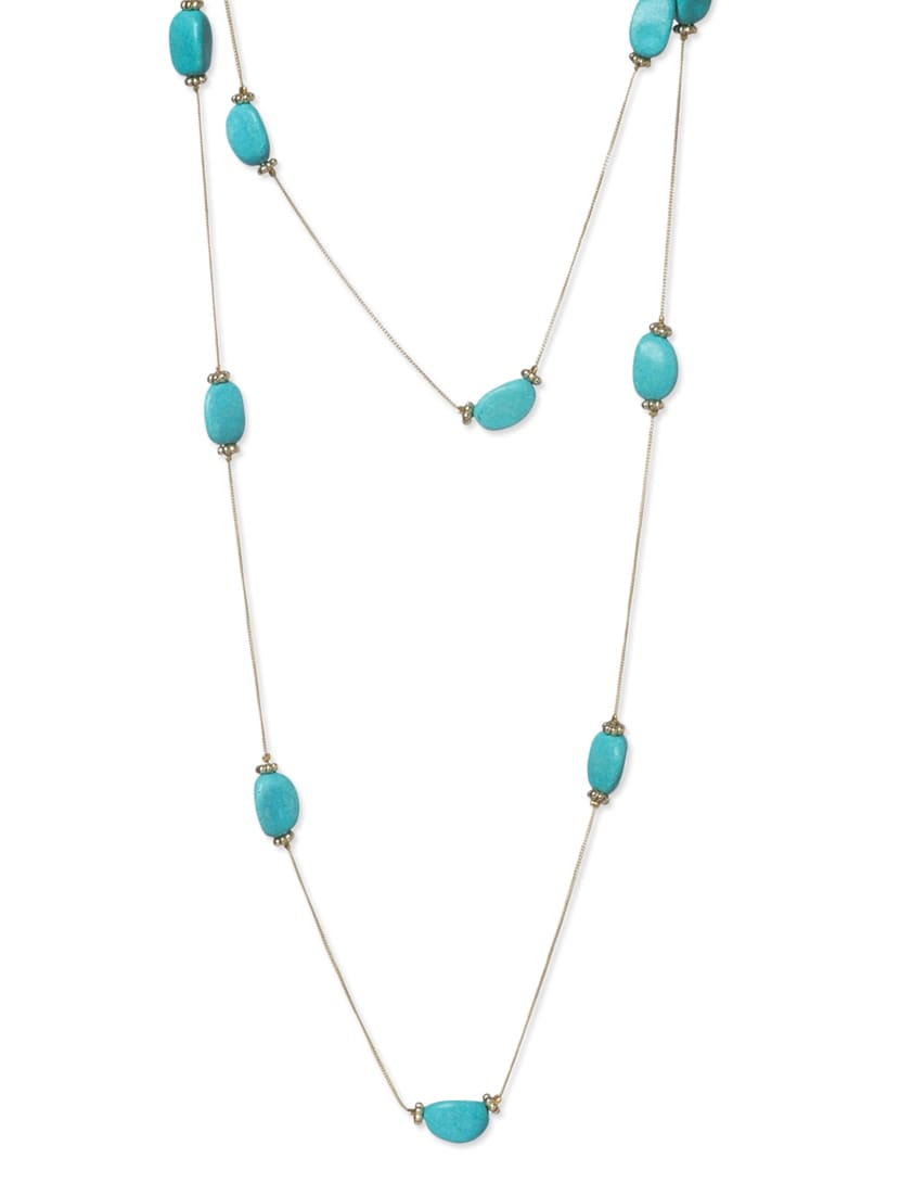 Blue Metal Long  Necklace - By