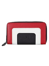 Colourblocked Textured Leather Wallet - ADAMIS