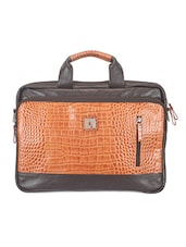 Textured Dark Brown And Tan Leather Laptop Bag - ADAMIS