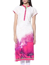 White And Pink Rayon Printed Kurta - By