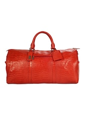 Red Textured Leather Duffle Bag - ADAMIS