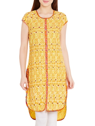 yellow cotton high-low kurta