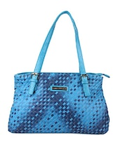 Woven Textured Blue Hand Bag - Lino Perros