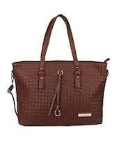 Brown Woven Textured Hand Bag - Lino Perros
