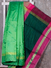 Light Green Handwoven Cotton Silk Saree - NFTSSLTD