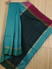 Teal Handwoven Cotton Silk Saree - NFTSSLTD
