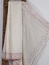 Cream Handwoven Cotton Silk Jamdani Saree - NFTSSLTD