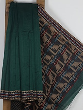 Dark Green Handwoven Cotton Silk Saree - NFTSSLTD