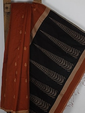 Rust Orange Handwoven Cotton Jamdani Saree - NFTSSLTD