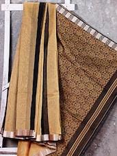 Beige And Black Handwoven Cotton Silk Saree - NFTSSLTD