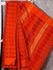 Orange Checkered Handwoven Cotton Silk Saree - NFTSSLTD