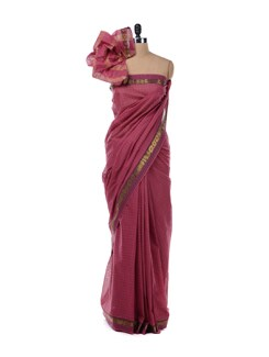Dark Pink Cotton Saree - Platinum Sarees